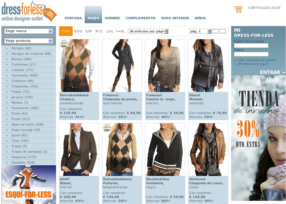 Una de las tantas firmas de moda con web propia